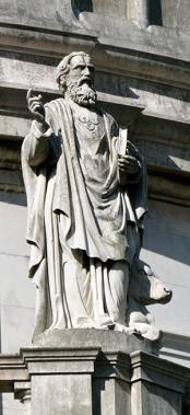 Aos pés do evangelista Lucas, seu principal atributo, o boi.