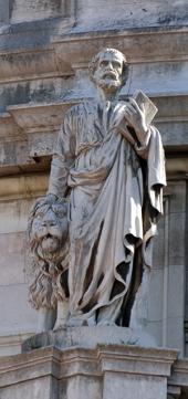Marcos afaga o leão e carrega a Bíblia, seus atributos.